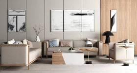 新中式沙發茶幾臺燈裝飾畫組合3D模型下載 新中式沙發茶幾臺燈裝飾畫組合3D模型下載