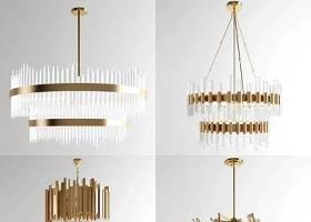 現代金屬水晶吊燈組合3D模型下載 現代金屬水晶吊燈組合3D模型下載