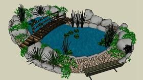 景观水池 草图大师模型SU模型下载 景观水池 草图大师模型SU模型下载