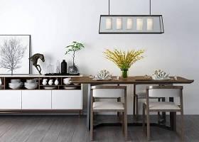 現代餐桌椅餐邊柜組合3D模型下載 現代餐桌椅餐邊柜組合3D模型下載