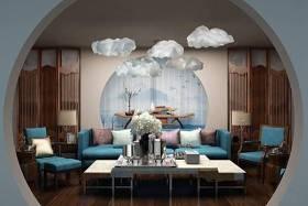 新中式布藝沙發茶幾云朵吊燈組合3D模型下載 新中式布藝沙發茶幾云朵吊燈組合3D模型下載
