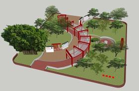 現代學校黨建公園免費SU模型下載 現代學校黨建公園免費SU模型下載