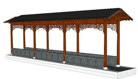 中式廊架su模型下载 中式廊架su模型下载