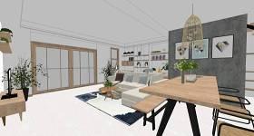 现代工业风客厅餐厅室内设计SU模型下载 现代工业风客厅餐厅室内设计SU模型下载