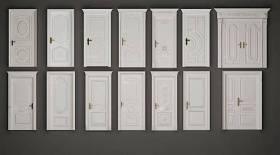 歐式白色雕花實木門組合3D模型下載 歐式白色雕花實木門組合3D模型下載