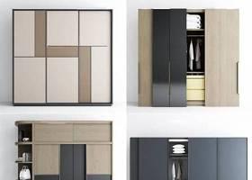 現代實木衣柜組合3D模型下載 現代實木衣柜組合3D模型下載