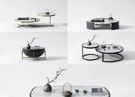 新中式茶幾組合 新中式茶幾 現代茶幾 圓幾 邊幾 茶具 大理石臺面3D模型下載 新中式茶幾組合 新中式茶幾 現代茶幾 圓幾 邊幾 茶具 大理石臺面3D模型下載