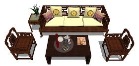 中式沙发组合SU模型下载 中式沙发组合SU模型下载
