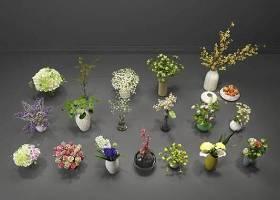 现代绿植花卉盆栽组合3D模型下载 现代绿植花卉盆栽组合3D模型下载