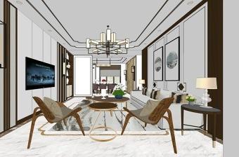 新中式客厅餐厅室内设计SU模型下载 新中式客厅餐厅室内设计SU模型下载
