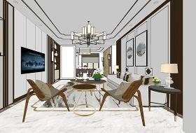 新中式客廳餐廳室內設計SU模型下載 新中式客廳餐廳室內設計SU模型下載
