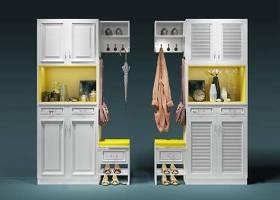 北歐白色鞋柜女鞋擺件組合3D模型下載 北歐白色鞋柜女鞋擺件組合3D模型下載