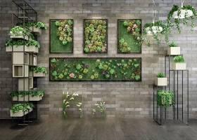 现代花架盆栽绿植墙组合3D模型下载 现代花架盆栽绿植墙组合3D模型下载