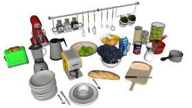 厨具 炊具 其他 家居物品 哑铃 饰品 SU模型下载 厨具 炊具 其他 家居物品 哑铃 饰品 SU模型下载