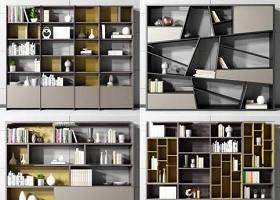 現代書柜裝飾柜擺件組合3d模型下載 現代書柜裝飾柜擺件組合3d模型下載