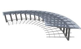 现代玻璃廊架SU模型下载 现代玻璃廊架SU模型下载