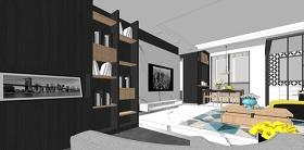 精品免费现代风格两房两厅室内设计su模型下载 精品免费现代风格两房两厅室内设计su模型下载