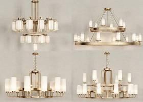 新中式金屬吊燈組合3D模型下載 新中式金屬吊燈組合3D模型下載