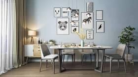 北歐餐桌椅邊柜吊燈組合3D模型下載 北歐餐桌椅邊柜吊燈組合3D模型下載