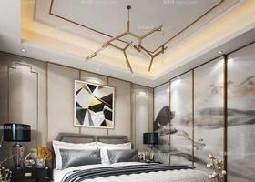 现代卧室 双人床 吊灯 台灯 插花 摆件3D模型下载 现代卧室 双人床 吊灯 台灯 插花 摆件3D模型下载
