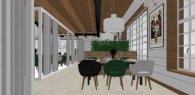 精品免费北欧风格绿色餐厅su模型下载 精品免费北欧风格绿色餐厅su模型下载