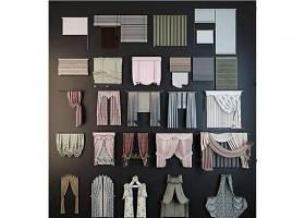 现代布艺窗帘卷帘组合3D模型下载 现代布艺窗帘卷帘组合3D模型下载