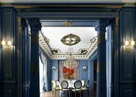 经典欧式蓝色别墅餐厅 蓝色木艺罗马柱3D模型下载 经典欧式蓝色别墅餐厅 蓝色木艺罗马柱3D模型下载