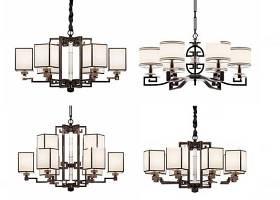 新中式實木吊燈組合3D模型下載 新中式實木吊燈組合3D模型下載