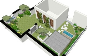 中式屋顶花园景观SU模型下载 中式屋顶花园景观SU模型下载