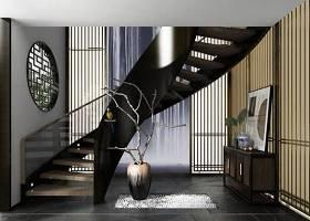 新中式旋转楼梯端景柜摆件组合3D模型下载 新中式旋转楼梯端景柜摆件组合3D模型下载