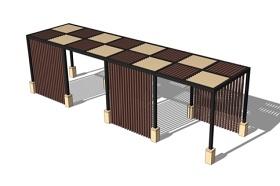 木廊架SU模型下载 木廊架SU模型下载