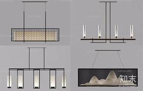 新中式吊燈組合 新中式吊燈 餐廳吊燈 吊燈組合3D模型下載 新中式吊燈組合 新中式吊燈 餐廳吊燈 吊燈組合3D模型下載