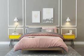 北歐雙人床床頭柜壁燈組合3D模型下載 北歐雙人床床頭柜壁燈組合3D模型下載