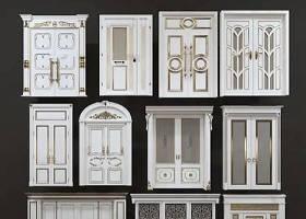 欧式实木雕花大门组合3D模型下载 欧式实木雕花大门组合3D模型下载
