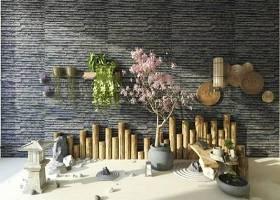 中式地灯盆栽园艺流水景观组合3D模型下载 中式地灯盆栽园艺流水景观组合3D模型下载