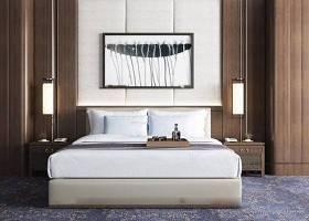 新中式布藝雙人床床頭柜壁燈裝飾畫組合3D模型下載 新中式布藝雙人床床頭柜壁燈裝飾畫組合3D模型下載
