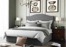 美式布藝雙人床床頭柜臺燈吊燈組合3D模型下載 美式布藝雙人床床頭柜臺燈吊燈組合3D模型下載