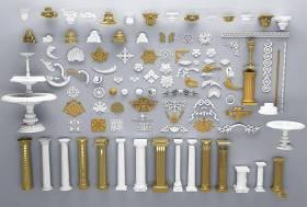歐式雕花羅馬柱組合3D模型下載 歐式雕花羅馬柱組合3D模型下載