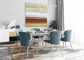 北歐餐桌椅邊柜掛畫組合3d模型下載 北歐餐桌椅邊柜掛畫組合3d模型下載