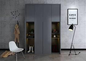现代灰色衣柜休闲椅落地灯组合3D模型下载 现代灰色衣柜休闲椅落地灯组合3D模型下载