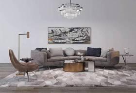 现代布艺多人沙发茶几休闲椅吊灯组合3D模型下载 现代布艺多人沙发茶几休闲椅吊灯组合3D模型下载