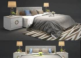 現代布藝雙人床床頭柜臺燈組合3D模型下載 現代布藝雙人床床頭柜臺燈組合3D模型下載