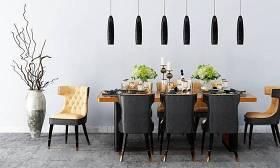現代餐桌椅餐具吊燈組合3D模型下載 現代餐桌椅餐具吊燈組合3D模型下載