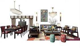 中式实木沙发茶几餐桌椅吊灯组合3D模型下载 中式实木沙发茶几餐桌椅吊灯组合3D模型下载