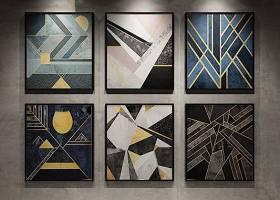 现代几何图案装饰画3D模型下载 现代几何图案装饰画3D模型下载