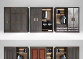 新中式衣柜服饰组合3d模型下载 新中式衣柜服饰组合3d模型下载