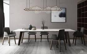 現代餐桌椅吊燈組合3D模型下載 現代餐桌椅吊燈組合3D模型下載