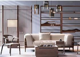 新中式客厅沙发茶几书柜组合3D模型下载 新中式客厅沙发茶几书柜组合3D模型下载