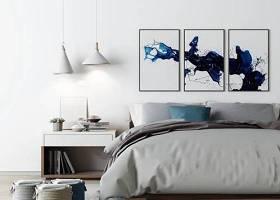 現代布藝雙人床床頭柜吊燈裝飾畫組合3D模型下載 現代布藝雙人床床頭柜吊燈裝飾畫組合3D模型下載
