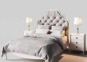 簡歐雙人床床頭柜臺燈組合3D模型下載 簡歐雙人床床頭柜臺燈組合3D模型下載